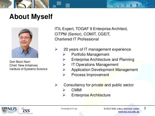 IT Portfolio Management Using Enterprise Architecture and ITIL® Service Strategy Slide 3