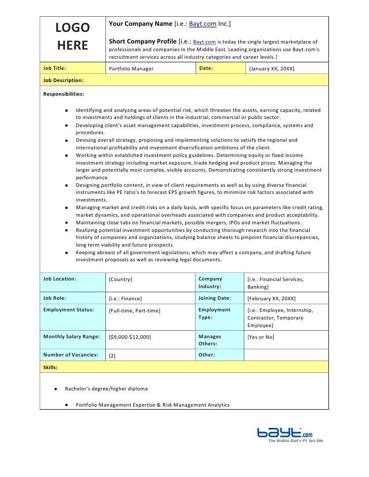 Amazing LOGO HEREYour Company Name [i.e.: Bayt.com Inc.]Short Company Profile Portfolio  Manager Job Description ...