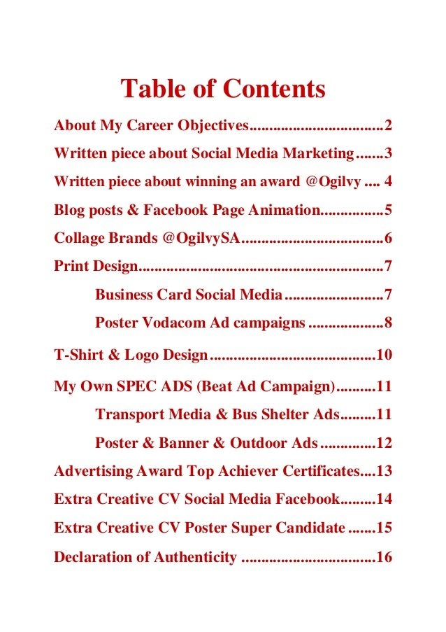Table of ContentsAbout My Career Objectives ..................................2Written piece about Social Media Marketing ...