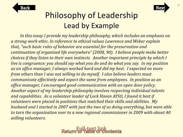 my leadership philosophy essay