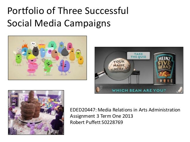 Portfolio of Three Successful Social Media Campaigns EDED20447: Media Relations in Arts Administration Assignment 3 Term O...