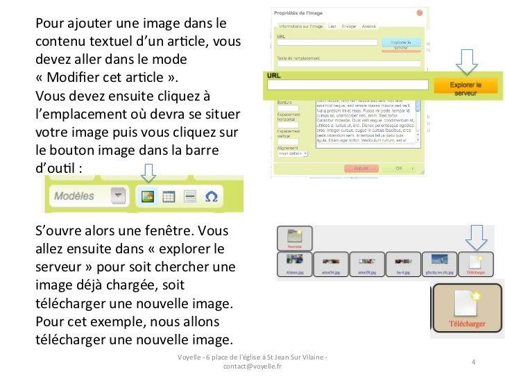 Pour ajouter une image dans le contenu textuel d'un arGcle, vous devez aller dans le mode ...