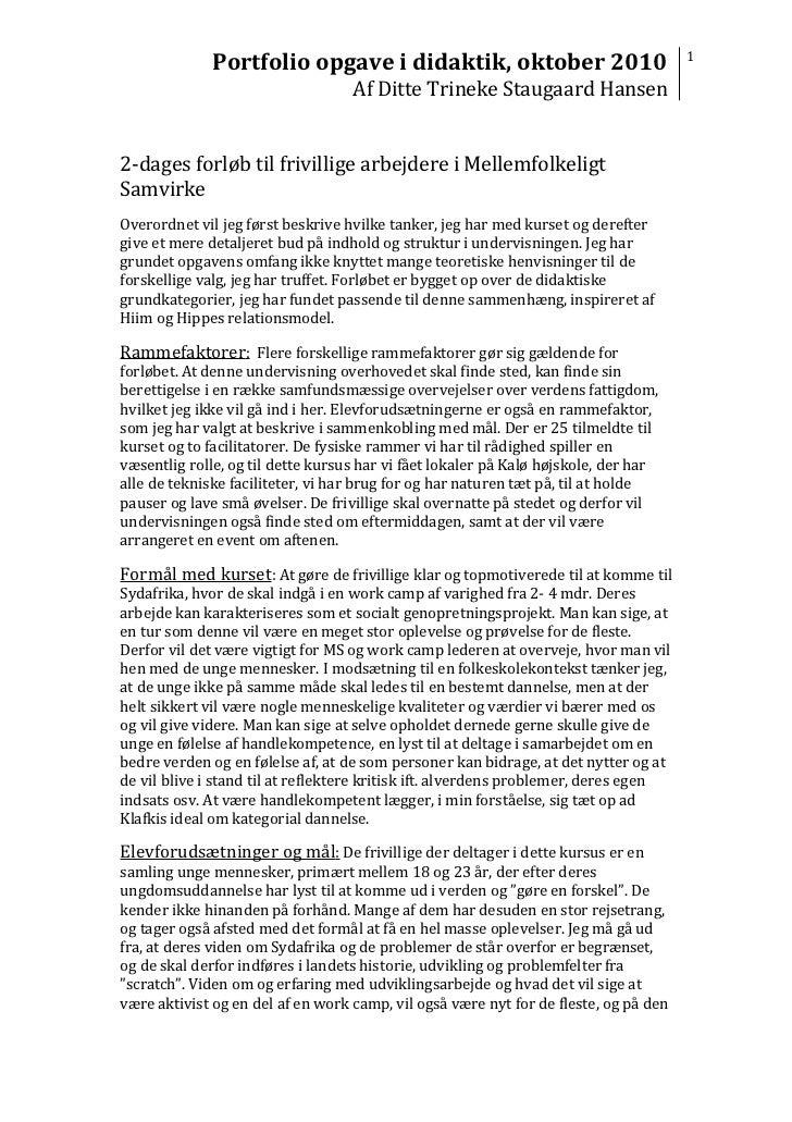 Portfolio opgave i didaktik, oktober 2010                                                                                F...