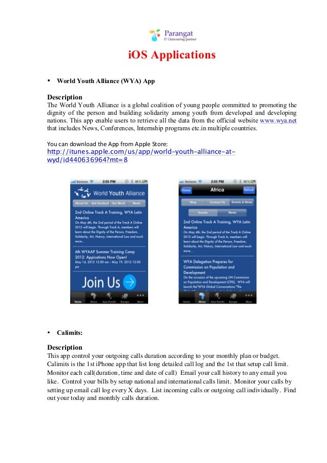 iOS Applications• World Youth Alliance (WYA) AppDescriptionThe World Youth Alliance is a global coalition of young people ...