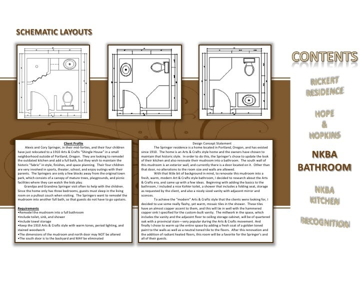 NKBA BATHROOM 18 SCHEMATIC LAYOUTS Client Profile Design Concept