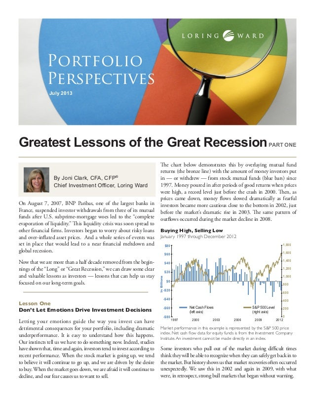 Greatest Lessons of the Great Recession July 2013 Portfolio Perspectives By Joni Clark, CFA, CFP® Chief Investment Officer...