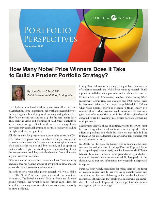 Portfolio Perspectives December 2013  How Many Nobel Prize Winners Does It Take to Build a Prudent Portfolio Strategy? By ...