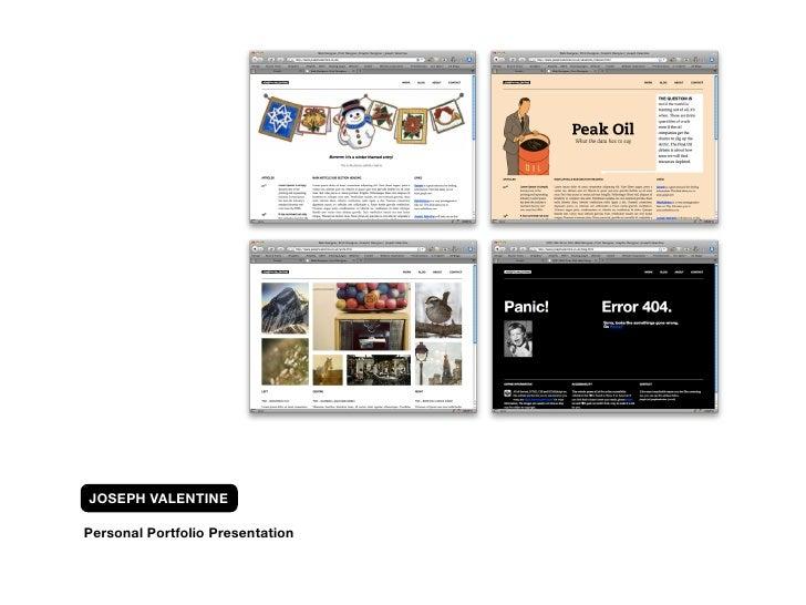 JOSEPH VALENTINE  Personal Portfolio Presentation