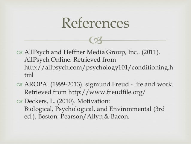 deckers l 2010 motivation biological psychological and environmental 3rd ed boston ma pearson allyn  School of psychology an integrative approach to writing essays and research reports in psychology (3rd ed deckers, l (2014) motivation: biological.