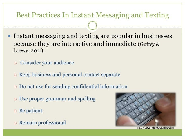 Instant Messages For Business : Best practices in business communication