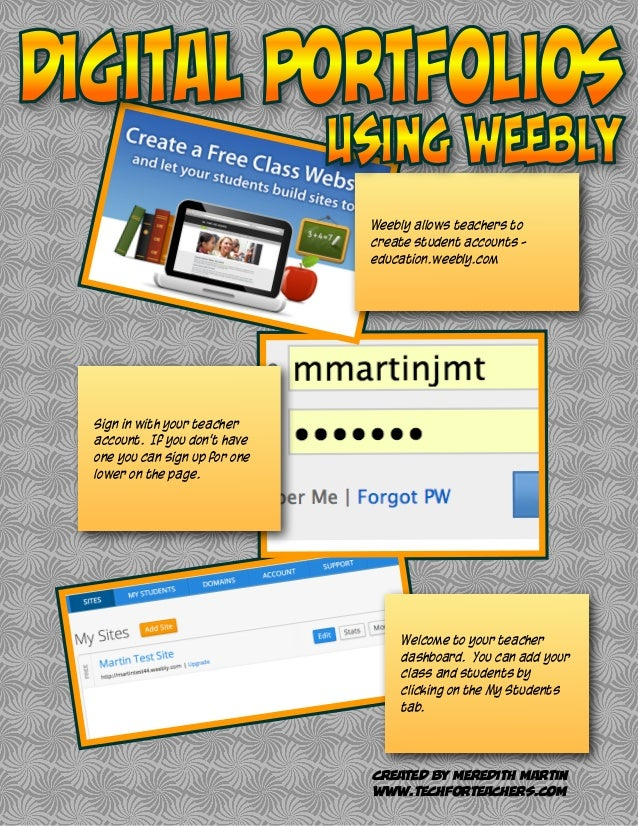 Weebly allows teachers to create student accounts - education.weebly.com Sign in with your teacher account. If you don't h...