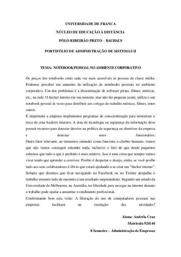 UNIVERSIDADE DE FRANCA NÚCLEO DE EDUCAÇÃO À DISTÂNCIA PÓLO RIBEIRÃO PRETO – BAUHAUS PORTIFÓLIO DE ADMINISTRAÇÃO DE SISTEMA...