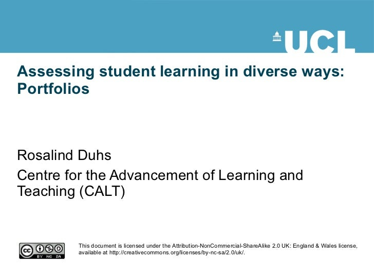Assessing student learning in diverse ways: Portfolios Rosalind Duhs Centre for the Advancement of Learning and Teaching (...