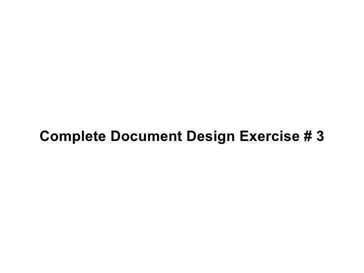 Complete Document Design Exercise # 3