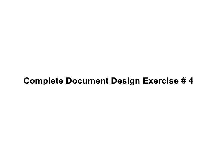 Complete Document Design Exercise # 4