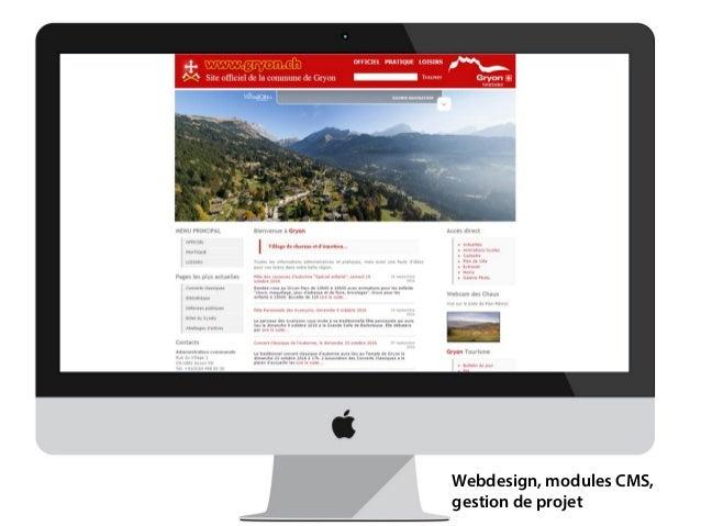 Design d'interface Webdesign, modules CMS, gestion de projet
