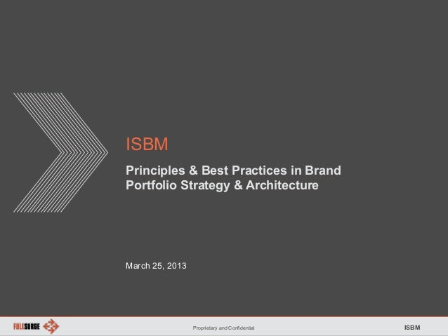 Proprietary and Confidential ISBM ISBM Principles & Best Practices in Brand Portfolio Strategy & Architecture March 25, 20...