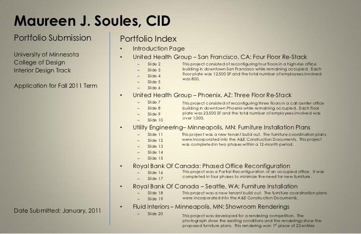 Maureen J. Soules, CIDPortfolio Submission             Portfolio Index                                 •   Introduction Pa...