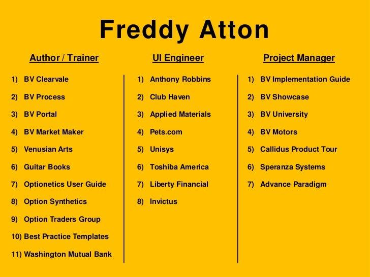Freddy Atton<br />Trainer<br />Developer<br />Manager<br />BV Implementation Guide<br />BV Showcase<br />BV University<br ...