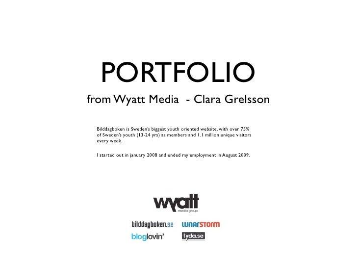 PORTFOLIO from Wyatt Media - Clara Grelsson   Bilddagboken is Sweden's biggest youth oriented website, with over 75%  of S...
