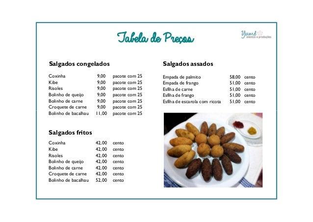 Tabela de Preços Salgados congelados Coxinha 9,00 pacote com 25 Kibe 9,00 pacote com 25 Risoles 9,00 pacote com 25 Bolinho...