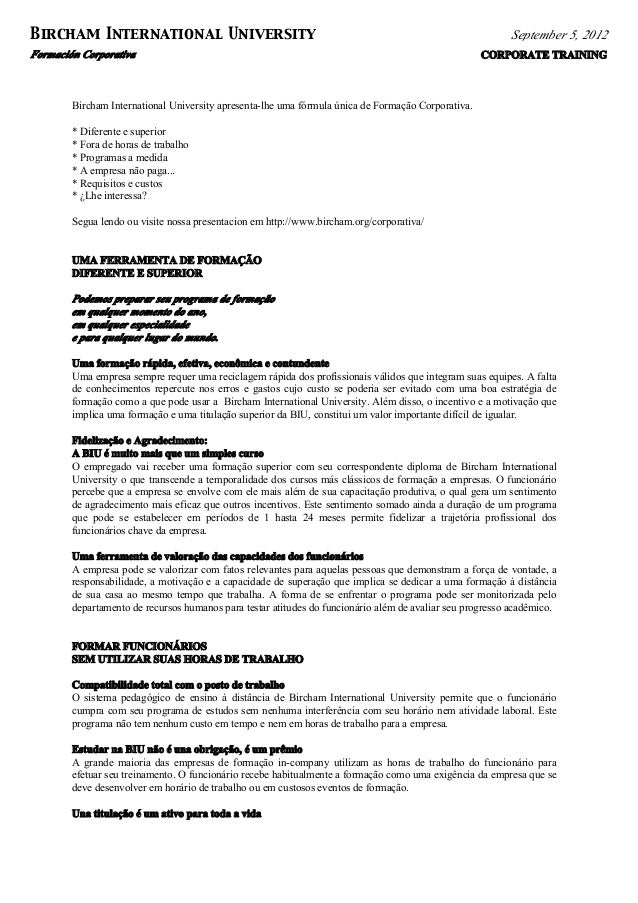 Formación Corporativa CORPORATE TRAINING Bircham International University September 5, 2012 Bircham International Universi...
