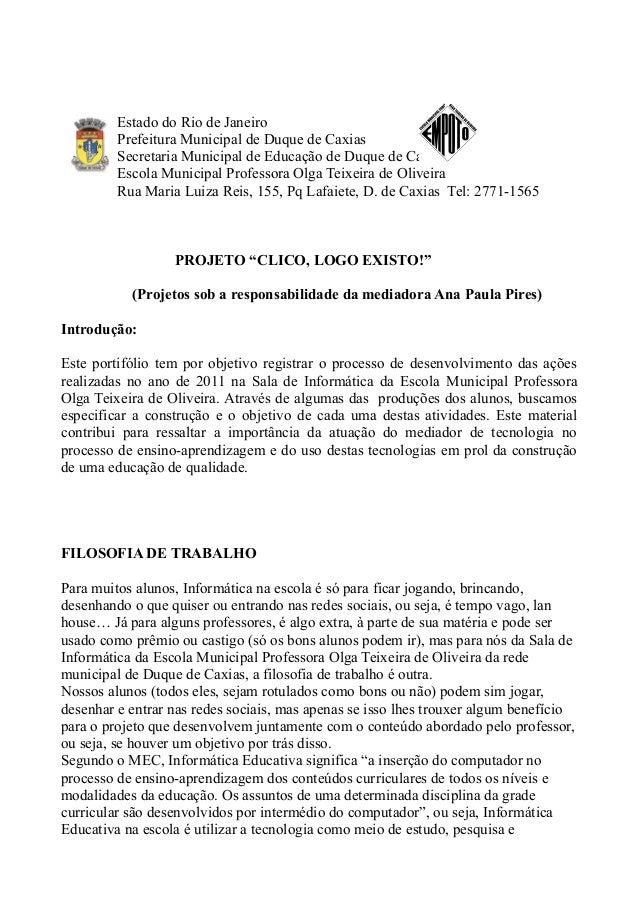Estado do Rio de Janeiro         Prefeitura Municipal de Duque de Caxias         Secretaria Municipal de Educação de Duque...