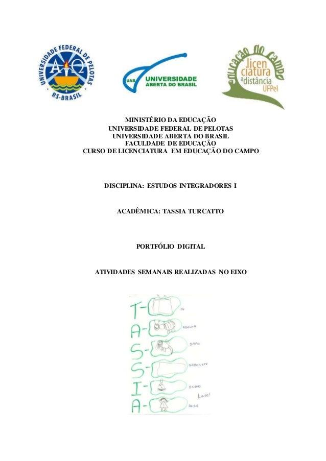 MINISTÉRIO DA EDUCAÇÃO UNIVERSIDADE FEDERAL DE PELOTAS UNIVERSIDADE ABERTA DO BRASIL FACULDADE DE EDUCAÇÃO CURSO DE LICENC...
