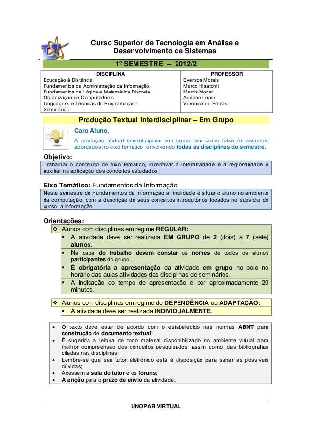UNOPAR VIRTUAL Curso Superior de Tecnologia em Análise e Desenvolvimento de Sistemas 1º SEMESTRE – 2012/2 DISCIPLINA PROFE...