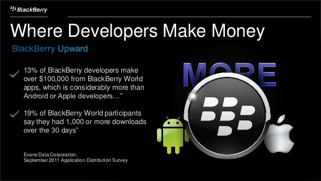 Where Developers Make Money 13% of BlackBerry developers make over $100,000 from BlackBerry World apps, which is considera...