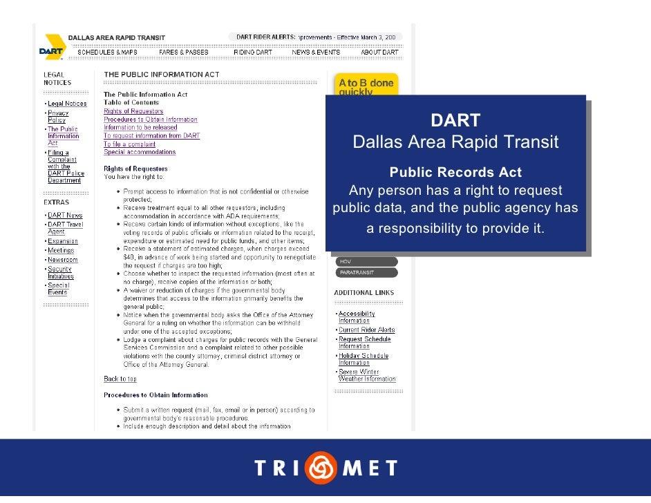DART              DART    Dallas Area Rapid Transit    Dallas Area Rapid Transit           Public Records Act            P...