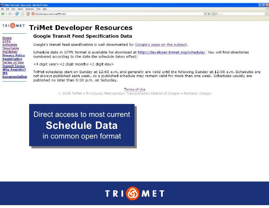 Direct access to most current Direct access to most current    Schedule Data    Schedule Data   in common open format    i...