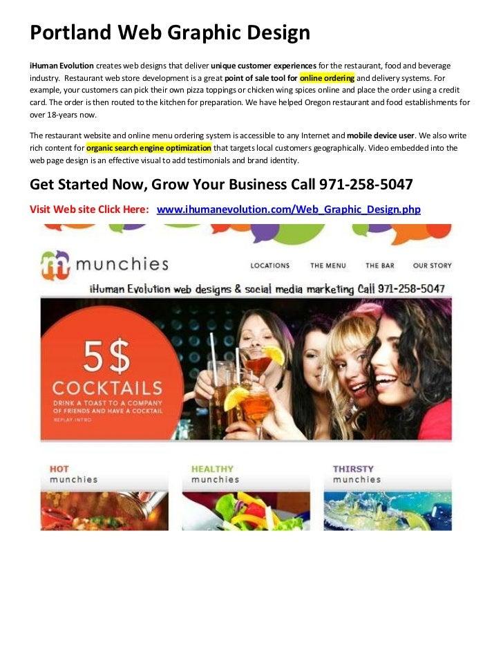 Portland Web Graphic DesigniHuman Evolution creates web designs that deliver unique customer experiences for the restauran...