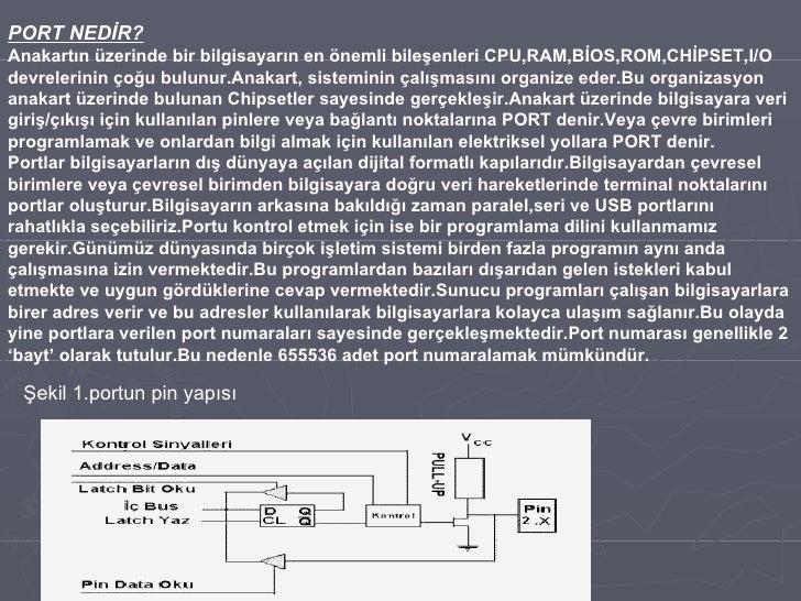 PORT NEDİR? Anakartın üzerinde bir bilgisayarın en önemli bileşenleri CPU,RAM,BİOS,ROM,CHİPSET,I/O devrelerinin çoğu bulun...