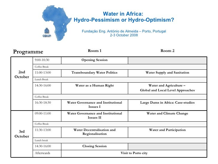Water in Africa:  Hydro-Pessimism or Hydro-Optimism? Fundação Eng. António de Almeida – Porto, Portugal 2-3 October 2008 L...