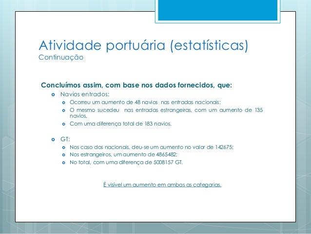 Atividade portuária (estatísticas) Continuação Concluímos assim, com base nos dados fornecidos, que:  Navios entrados:  ...