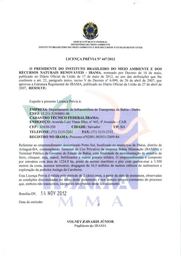 Porto sul licença previa   447-2012