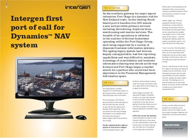 THE SITUATION  Intergen first port of call for Dynamics NAV system TM  As the southern gateway for major export industries...