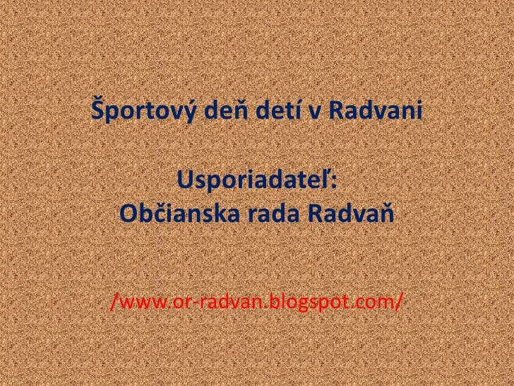 Sportový Deň Detí V Radvani