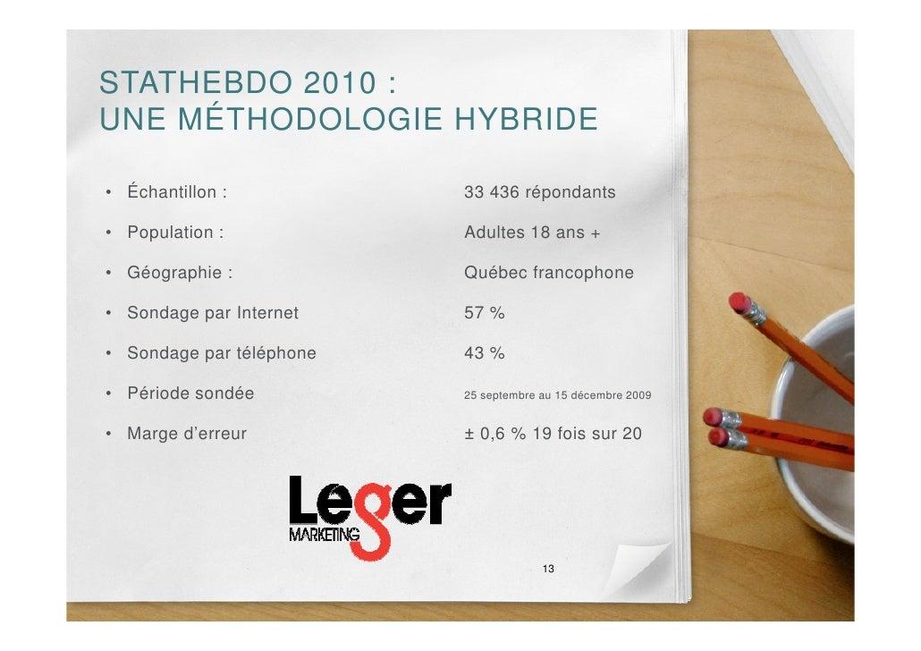 STATHEBDO 2010 : UNE MÉTHODOLOGIE HYBRIDE  • Échantillon :           33 436 répondants  • Population :            Adultes ...
