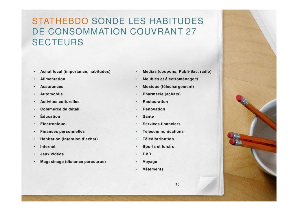 STATHEBDO SONDE LES HABITUDES DE CONSOMMATION COUVRANT 27 SECTEURS   •   Achat local (importance, habitudes)   •   Médias ...