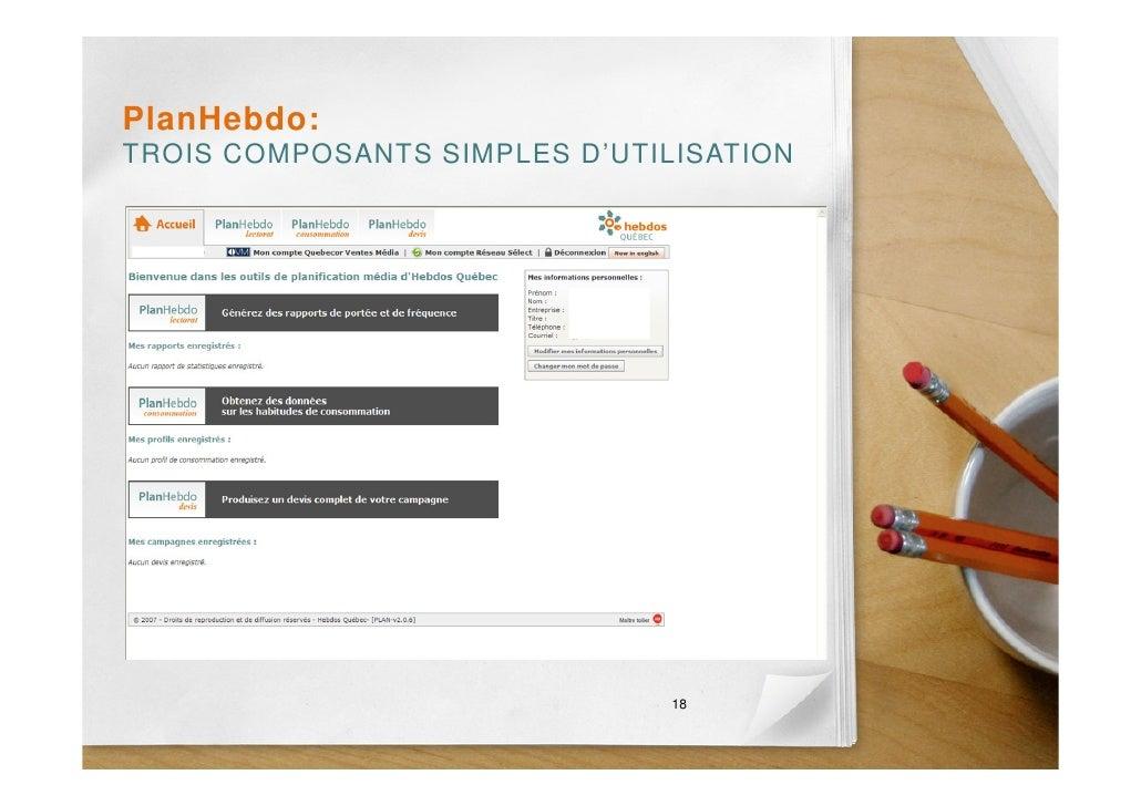 PlanHebdo: TROIS COMPOSANTS SIMPLES D'UTILISATION                                    18