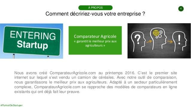 #PortraitDeStartuper 4 Comment décririez-vous votre entreprise ? À PROPOS Comparateur Agricole « garantit le meilleur prix...