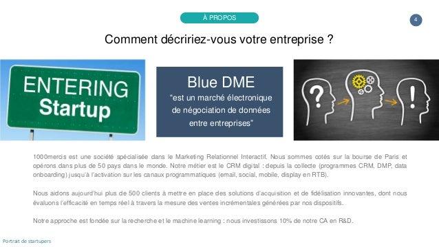 """4 Blue DME """"est un marché électronique de négociation de données entre entreprises"""" 1000mercis est une société spécialisée..."""
