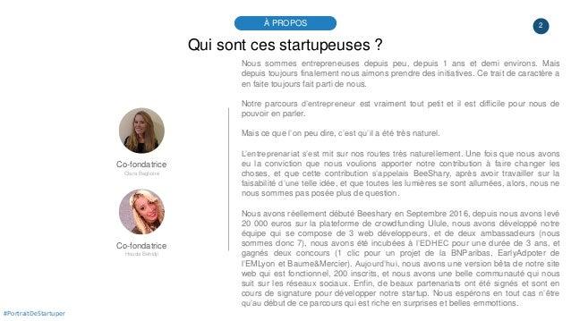 2À PROPOS #PortraitDeStartuper Qui sont ces startupeuses ? Co-fondatrice Clara Baglione Nous sommes entrepreneuses depuis ...
