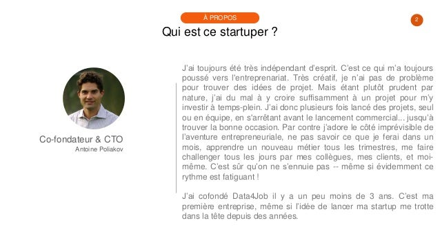 #PortraitDeStartuper #68 - Antoine Poliakov - Data4Job Slide 2