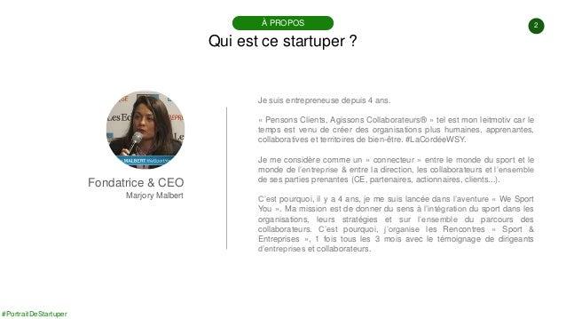 #PortraitDeStartuper #72 - We Sport You - Marjory Malbert Slide 2