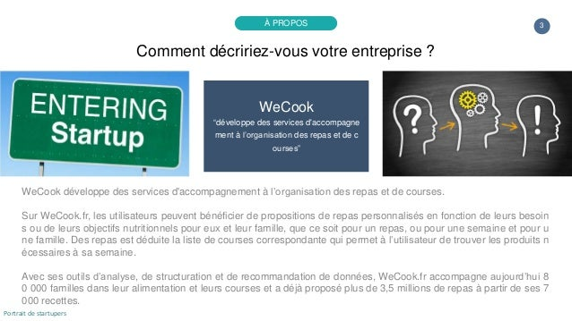 """3 WeCook """"développe des services d'accompagne ment à l'organisation des repas et de c ourses"""" WeCook développe des service..."""