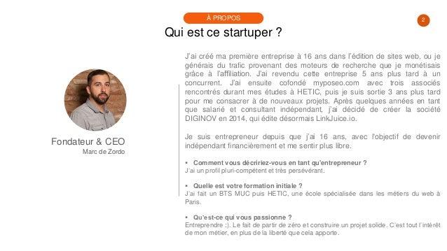#PortraitDeStartuper #82 - Marc de Zordo - LinkJuice Slide 2