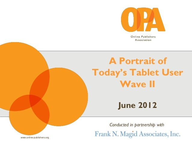 www.online-publishers.org June 2012 A Portrait of Today's Tablet User Wave II Conducted in partnership with
